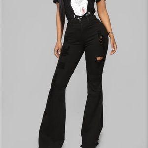 """Mind of Her Own"" Fashion Nova Flare Jeans"